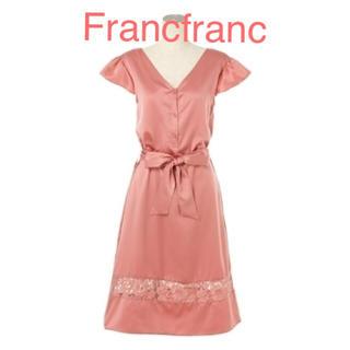 Francfranc - Francfranc フランフラン サテンレースワンピ 新品❣️