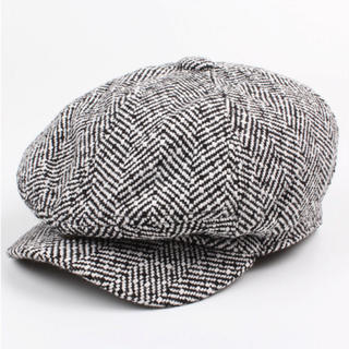 218 黒 白 キャスケット ハンチング帽 ベレー帽 メンズ 千鳥柄 つば付き(キャスケット)