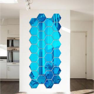 オシャレなウォールミラー(ハニカム/六角形)/話題のDIYに最適♪/銅-青(壁掛けミラー)