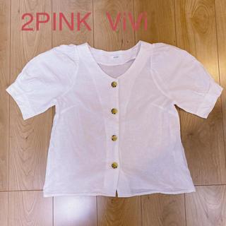 シマムラ(しまむら)のしまむら 2PINK ViVi フロントボタンブラウス M(シャツ/ブラウス(半袖/袖なし))