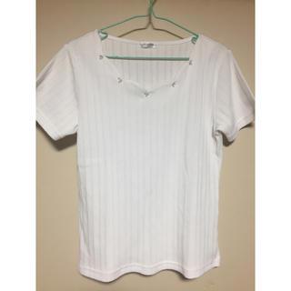 ハニーズ(HONEYS)のトップス スカラップ カットソー ブラウス ホワイト Tシャツ(カットソー(半袖/袖なし))