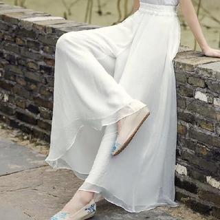ディーホリック(dholic)の韓国ファッション ワイドパンツ シフォンパンツ ハイウエストパンツ ホワイト(カジュアルパンツ)