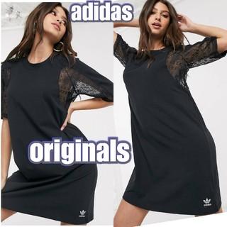 アディダス(adidas)のADIDAS ORIGINALS アディダスオリジナルス Tシャツワンピース 黒(ミニワンピース)