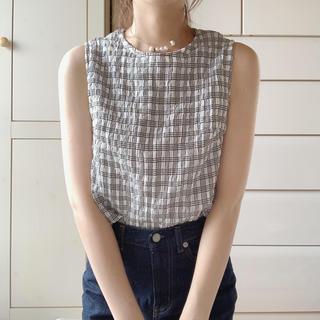 フラワー(flower)のcheck blouse(シャツ/ブラウス(半袖/袖なし))