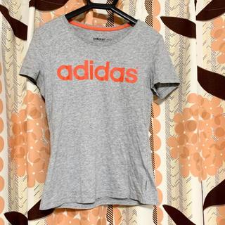 アディダス(adidas)のadidas アディダスTシャツ レディース  半袖 グレー 綿 M(Tシャツ(半袖/袖なし))