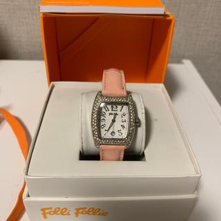 フォリフォリ(Folli Follie)のフォリフォリ 腕時計 ストーンベゼル 革ピンク(腕時計)