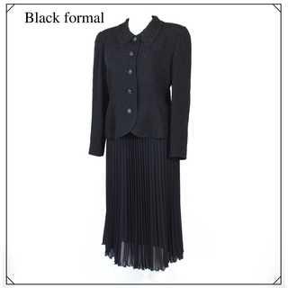ブラックフォーマルスーツ★ジャケット・スカート セットアップ 黒  M~L相当(礼服/喪服)