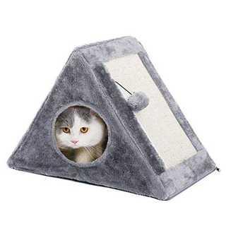 グレーFPAWZ Road 猫用爪とぎ 三角形の小型猫タワー ハウス型 折りたた