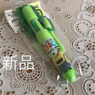 ミニオン(ミニオン)のミニオンズ  ひも付き4色ボールペン 緑  新品未使用品  お値下げ(ペン/マーカー)