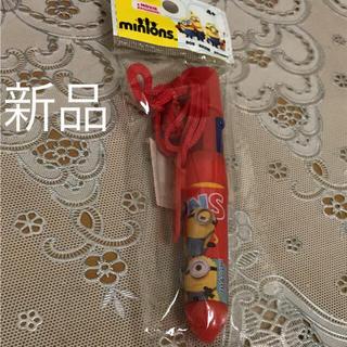 ミニオン(ミニオン)のミニオンズ  ひも付き4色ボールペン 赤  新品未使用品  お値下げ(ペン/マーカー)