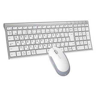 シルバーホワイトiClever キーボードワイヤレスキーボードマウスセット日本語(PC周辺機器)