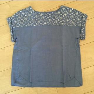 エニィスィス(anySiS)の【anySIS】フレンチスリーブTシャツ 花柄 ブルー(Tシャツ(半袖/袖なし))