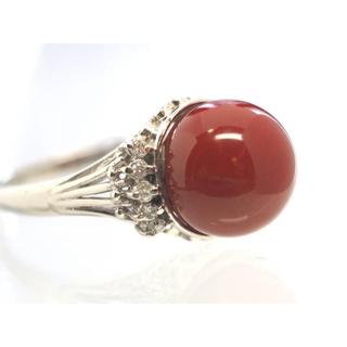 質屋出品hol 天然血赤珊瑚プラチナダイヤリング pm900 15号11.1mm(リング(指輪))