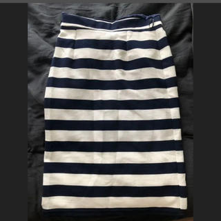 ikka - ボーダータイトスカート ボーダースカート 白xネイビー