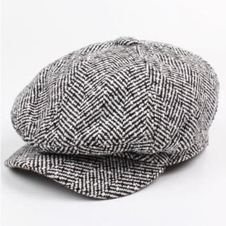 キャスケット ベレー帽子 メンズ  ハンチング帽 キャップ つば付き 黒 白(キャスケット)