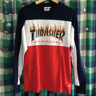 ディッキーズ(Dickies)のthrasher dickies スラッシャー トリコロール 長袖T M 古着(Tシャツ/カットソー(七分/長袖))