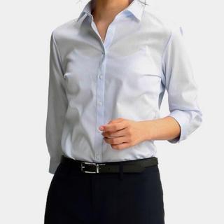 アオキ(AOKI)のアオキ レミューズ 七分袖 スキッパー ブラウス シャツ タグ付き未使用品(シャツ/ブラウス(半袖/袖なし))