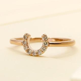 ばてい&ダイヤのかわいいピンキーデザインリングK18PG サイズ5号(リング(指輪))