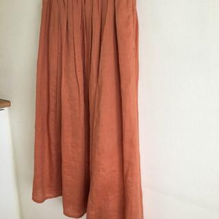 MUJI (無印良品) - 無印良品 リネンロングスカート  ペチコート付き