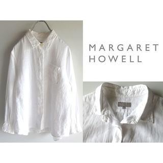 マーガレットハウエル(MARGARET HOWELL)のマーガレットハウエル 花ボタン 比翼 リネンブラウス 2 白 日本製 麻100%(シャツ/ブラウス(長袖/七分))