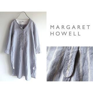 マーガレットハウエル(MARGARET HOWELL)のマーガレットハウエル ストライプ リネン カラーレスシャツワンピース F(その他)