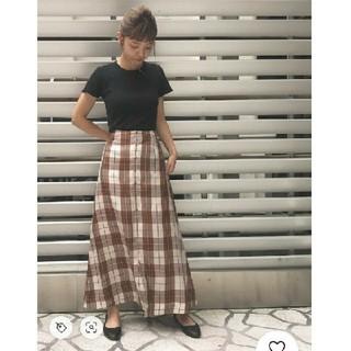 BEAUTY&YOUTH UNITED ARROWS - キュプラチェックフロントボタンマキシスカート