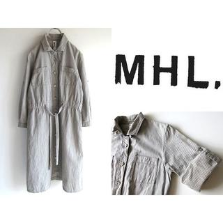マーガレットハウエル(MARGARET HOWELL)のMHL. ドローコード付 コットンリネン ヒッコリー ワークシャツワンピース 1(その他)
