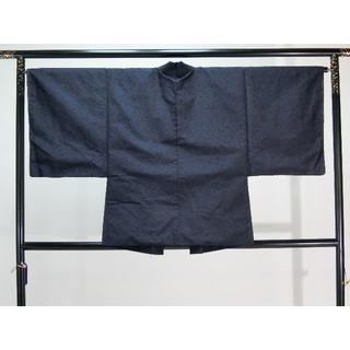 SS大きいサイズ男物お仕立て上がり正絹ひげ紬羽織 紺地(着物)