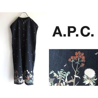 アーペーセー(A.P.C)の名作 APC ミッドナイト/ボタニカル柄 ノースリーブワンピース S 紺(その他)