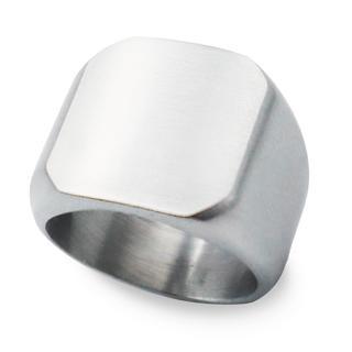 指輪 メンズ リング 印台 スクエア ヘアライン サージカルステンレス 艶消