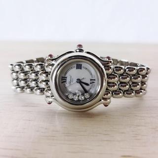 ショパール(Chopard)の美品 ショパール ハッピースポーツ 5P ダイヤモンド シルバー レディース(腕時計)
