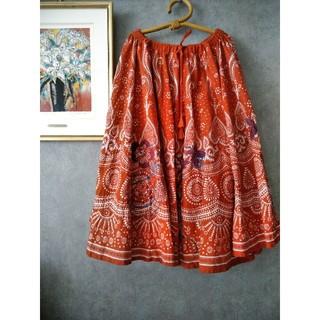 アズノウアズ(AS KNOW AS)のインド綿 ペイズリー 花柄 刺繍 ロングスカート(ロングスカート)