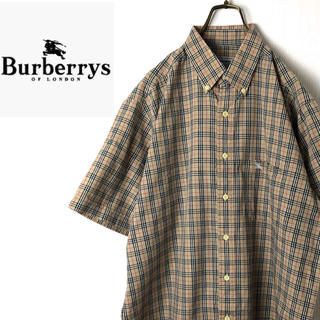 バーバリー(BURBERRY)のバーバリー ロンドン☆90s  刺繍ロゴ 半袖 BDシャツ L(シャツ)