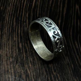 silver925平打ち柄あり シルバー925 唐草模様 リング 銀指輪(リング(指輪))