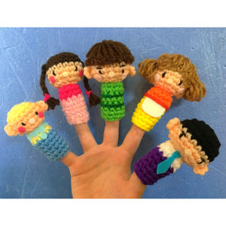 お話し指さんファミリー編みぐるみ指人形 ハンドメイド    (あみぐるみ)