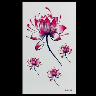 * まとめ割あり * 防水 タトゥーシール  [ Lotus ] ×1(その他)