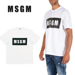 エムエスジイエム(MSGM)の10 MSGM メンズ ホワイト BOXロゴ Tシャツ size S(Tシャツ/カットソー(半袖/袖なし))