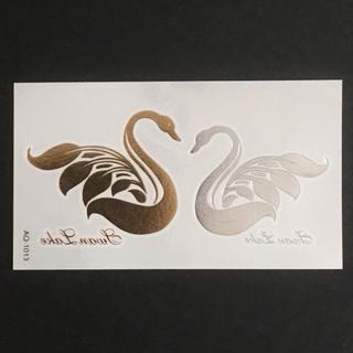 * まとめ割あり * 防水 メタルタトゥーシール [ Swan ] ×1(その他)