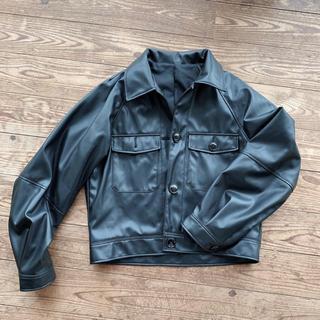 ジーユー(GU)のGU フェイクレザーダブルポケットジャケット ブラック(その他)