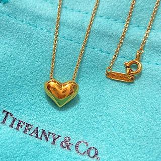 Tiffany & Co. - 美品tiffany ピッチドハートネックレスK18ゴールド