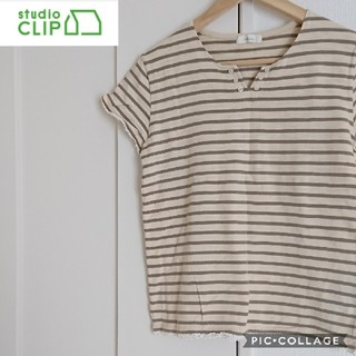 スタディオクリップ(STUDIO CLIP)の【studio CLIP】ナチュラルカラー*ボーダーコットンTシャツ(Tシャツ(半袖/袖なし))
