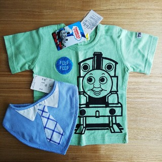 アカチャンホンポ(アカチャンホンポ)のトーマスTシャツ&ネクタイ柄スタイ(Tシャツ)