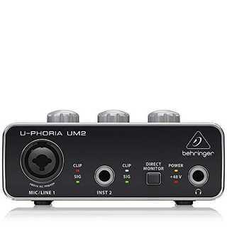 ブラック1-Channelベリンガー 2入力2出力 USBオーディオインターフェ(オーディオインターフェイス)