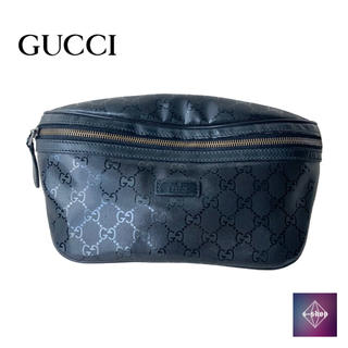 グッチ(Gucci)の【新品】グッチ ウエスト ポーチ バッグ  GGインプリメ レザー ブラック(ウエストポーチ)