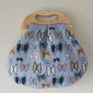 ミナペルホネンハンドメイド skyflower 木の持ち手がま口バッグ