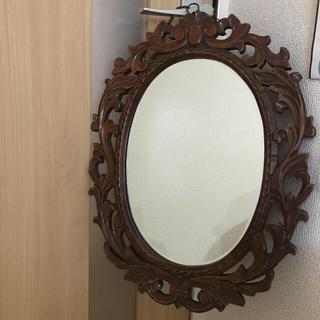 アンティーク ミラー 鏡 壁掛け 木彫り(壁掛けミラー)