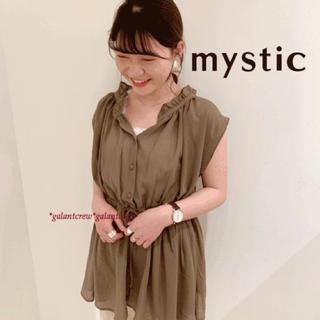 mystic - 新品mysticミスティック★ノースリ-ブボリュームギャザーブラウス★オリーブ