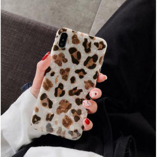 iphoneX/XS レオパード柄 iphoneカバー ヒョウ柄 ブラウン 白(iPhoneケース)