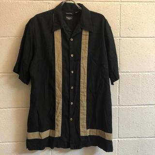 ビンテージ hagger リネン レーヨン ライン 半袖シャツ オープンカラー(シャツ)