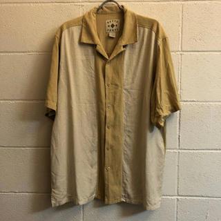 ビンテージ シルク バイカラー 半袖シャツ オープンカラー(シャツ)